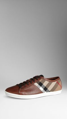Burberry Check Cotton Leather Trainers In House Check Color