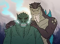 Zilla jr :Cmon Goji smile, let me show you how it's done Godzilla : .................. Art by amazing