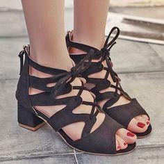 4181625e3665 Plain Chunky Mid Heeled Velvet Criss Cross Peep Toe Date Office Sandals- Berrylook  OfficeSandals