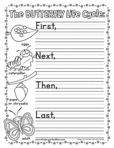 This set includes a colorful life cycle chart, life cycle wheel (cut and paste activity) and a writing prompt. This makes the perfect coloring page, worksheet and more. Sequencing Worksheets, Worksheets For Kids, Kindergarten Science, Kindergarten Worksheets, Preschool, Life Cycle Craft, Butterfly Life Cycle, Butterfly Kit, Writing Activities