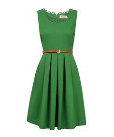 Look at this #zulilyfind! Green Scallop Neck Pleated Dress by Louche #zulilyfinds