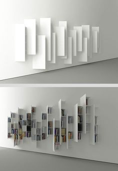 CTline bookshelf designed by Victor Vasilev. From a particular angle, this construction looks nothing like a bookshelf, but rather a minimalistic art installation. More