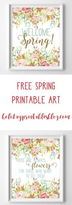 Free spring printable art! These spring printables are the perfect wall or mantle decor. In shades of aqua, pink, green and gold glitter!