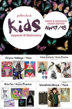 The Patternbank team are excited to launch the latest Print Trend Report focused towards Kidswear & Stationery . Once again our childrenswear t Fall Winter 2017, Winter Kids, Autumn, Stationery Printing, Kids Prints, Graphic Prints, Kids Fashion, Young Fashion, Print Patterns