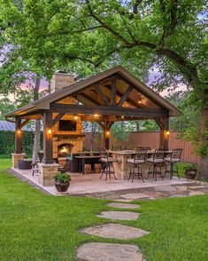 This is a MUST for a great summer backyard! 😍 How great would this be for entertaining? And those lights at night ❤️ TAG a friend you would… Backyard Pavilion, Outdoor Pavilion, Backyard Patio Designs, Backyard Landscaping, Patio Ideas, Backyard Cabana, Garden Ideas, Pavers Ideas, Rustic Backyard