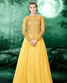Buy Grand Yellow Party Wear Gown online at  https://www.a1designerwear.com/grand-yellow-party-wear-gown  Price: $64.69 USD