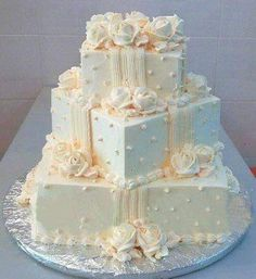 wedding cakes chocolate Image shared by Ella White. - wedding cakes chocolate Image shared by Ella White. Find images and videos about w - Square Wedding Cakes, Wedding Cake Roses, White Wedding Cakes, Elegant Wedding Cakes, Elegant Cakes, Beautiful Wedding Cakes, Wedding Cake Designs, Beautiful Cakes, Rose Wedding
