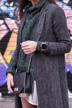 Our favorite winter outfits always include a Q Wander rose gold display smartwatch. via @ thedandyliar