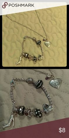 **Heart necklace & shopping bracelet set** Super cute set! Necklace says follow your heart and the bracelet has cute charms with a high heel shoe and purse on it. I ship fast! Jewelry Necklaces