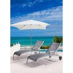 Casam Outdoor Sling Chaise Lounge Silver Black