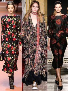 Designer wie, Dolce&Gabbana, Roberto Cavalli, oder Suno zeigen hübsche Blumenprints auf dunklen Hintergrundfarben.