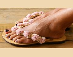 Romantic Sandals/ Flower sandals/ Handmade sandals/ leather sandals/ Flower lace…