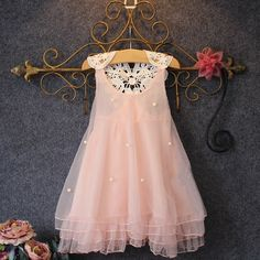 Girls Chiffon Pearl Pink Lace Tulle Gown
