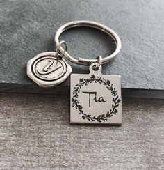 Tia, Spanish Aunt, Spanish Jewelry, Silver Keychain, Gifts for, Tia Gift, Tia Jewelry, Silver Jewelry, Aunt, Auntie, Silver Keyring by SAjolie, $19.95 USD