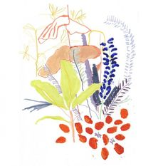 London-based illustrator and textile designer Alicia Galer combines loose abstract marks, delicate drawings and bold blocks of color to create a contemporary vision of a botanical subject matter. Art And Illustration, Botanical Illustration, Painting Inspiration, Art Inspo, Leeds College Of Art, Illustrator, Kunst Inspo, Guache, Art Graphique