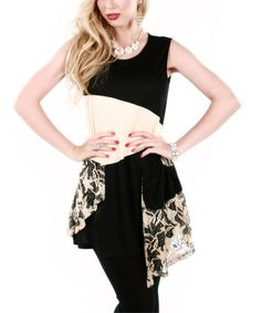 Look at this #zulilyfind! Beige & Black Lace Tunic by Lily #zulilyfinds