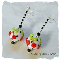Cherry Earrings - Cherry lampwork glass - Cherry Beads - Beaded Earrings - Women's Earrings - Cherry Chick - Artisan Jewelry - Cherries by CherryChick on Etsy