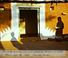 A little away from the city enclosed within the honey coloured walls of the Jaiselmer fort, Rajasthan, . Mud Hut, Aesthetic Sense, Concrete Structure, Mexican Artists, Honey Colour, Village Houses, Morning Sun, Wall Colors, Designs To Draw