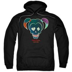 PULL-OVER HOODIE - SUICIDE SQUAD - HARLEY SKULL - YOUTH or ADULT
