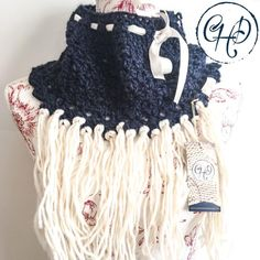 Cowl in navy and cream with cream ribbon and tassels Winter 2017, Fall Winter, Autumn, Limited Collection, Winter Collection, Alpaca Wool, Hand Crochet, Cowl, Tassels