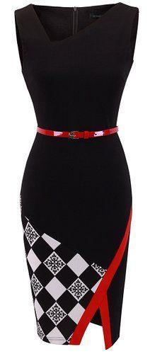 HOMEYEE Women's Elegant Patchwork Sheath Sleeveless Business Dress B290 (S, Black) at Amazon Women's Clothing store: