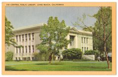 This vintage linen postcard, circa 1940s, depicts the Central Public Library in Long Beach, California. The library is located on Lincoln Park in downtown Long Beach.