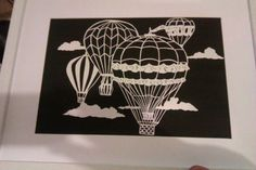 Cut Your Own Hot Air Balloon Folksy Paper Cut Template - Personal Use JPEG