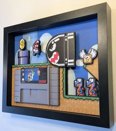 Super Mario World Shadow Box Cartridge Holder – Game Room İdeas 2020 Super Mario World, Mundo Super Mario, Super Mario Bros, Retro Videos, Retro Video Games, Retro Games, Shadow Box, Shadow Video, Deco Gamer