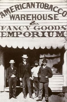 American Tobacco Warehouse & Fancy Goods Emporium, Gulgong, New South Wales. 1900 Clothing, Black White Photos, Black And White, Old Time Photos, Gold Map, Vintage Gentleman, Gold Prospecting, Character And Setting, Cowboys And Indians