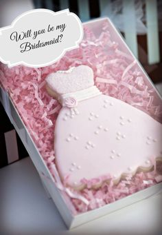 1 Boxed Will you be my Bridesmaid Cookie favor by LoveBirdBakery