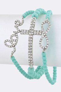 LOVE CROSS INFINITY Stacked Bracelet (Mint)