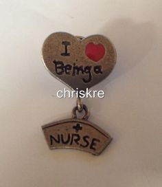 I Love Being a Nurse Pin Brooch Broach Silver Pewter Gift Graduation FREE ship