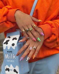 Pin on long nails Cow Nails, Aycrlic Nails, Hair And Nails, Glitter Nails, Zebra Nails, Bling Nails, Coffin Nails, Nail Swag, Milky Nails