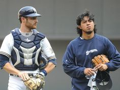 Brewers catcher Jonathan Lucroy, left, wraps up a workout with Yovani Gallardo earlier in the season.  http://www.onmilwaukee.com/sports/articles/lucroybullpencatching.html#