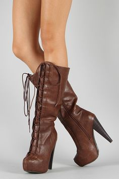 Qupid Rosalia-07 Lace Up Knee High Boot