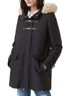 Manteau en coton avec capuche Noir by MANGO 99.99