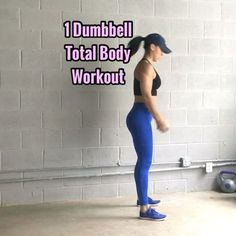 Total Body Workout All you need is 1 dumbbell, I'm using a 15lb one. - - 1. Deadlift Squat Press (back flat, chest proud, feet about shoulder width) 8 Reps - - 2. Reverse Lunge Knee Up Press (squeeze that Booty cheek & keep core engaged, it'll help w/ balance) 8 Reps ea Leg - - 3. Side Lunge Crunch (sit back into lunge, push thru heel, quick crunch, right back into lunge) 8 Reps ea Side -  4. Tricep Extension Crunch (alternate crunching to each knee) 10 Reps - - 5. Single Side Deadlift Cr...