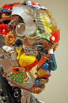 Italian Artist, Dario Tironi, Recycles Found Objects into Colorful Sculptures Found Object Art, Found Art, Recycling, Mannequin Art, Trash Art, Blender 3d, Collage, Assemblage Art, Italian Artist