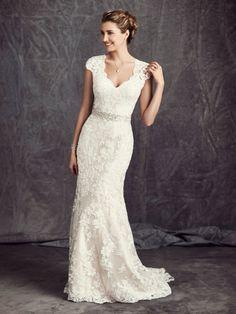 V Neck Cap Sleeve Sheath Lace Wedding Dress with Crystal Ribbon