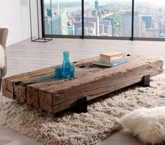 Table basse en Teck recyclé et pieds traverse métal MATT - - Home Decor Furniture, Wood Furniture, Home Furnishings, Furniture Plans, Couch Table, Table And Chair Sets, Log Table, Diy Home Crafts, Table Decorations