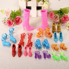 Wholesale Set of 12 Pairs Fashion Dolls Shoes Heels Sandals Barbie Dolls Outfit Dress Toy - Alibaba.com