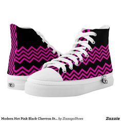 Modern Hot Pink Black Chevron Stripe Printed Shoes
