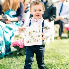 signs for flower girl or ring bearer to carry by The Ritzy Rose. Check out these six signs including a fun idea for the reception! Funny Wedding Signs, Wedding Humor, Car Wedding, Dream Wedding, Wedding Bouquet, Wedding Things, Wedding Ceremony, Wedding Stuff, Ring Bearer Signs