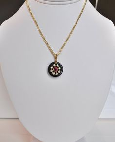 Small Black Onyx and Gold Constellation Pendant with Red Cubic Z | Deliciously Beautiful Things to Wear and Home Decor.