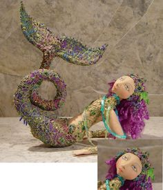 """Calamity Kim website for mermaid patterns, Scylla by Barbara Schoenoff """"This breathtakingly beautiful 17"""" reclining mermaid with webbed fingers is created with batik fabrics covered with fabric lace and exquisite embellishments."""""""