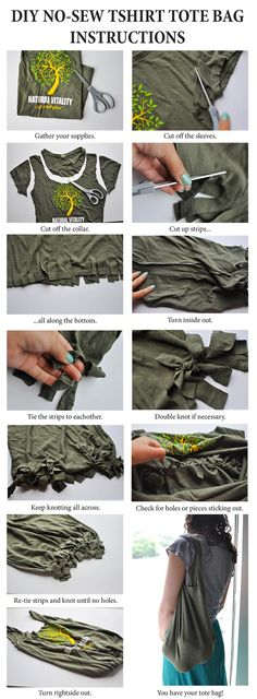 DIY - Make a tote bag from a T-shirt! http://naturalvitalityliving.com/eco-cool-t-shirt-tote-bag/#.U7uzU0DwGkw