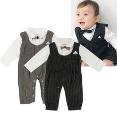Puseky Newborn Baby Boys Gentleman Suit Bow Tie Romper Jumpsuit Outfits Clothes 18~24 Months