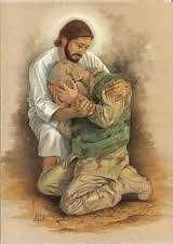 Our Lord and Savior Jesus Christ bringing sweet comfort to an American solider. This picture speaks a thousand words. My Champion, Support Our Troops, Jesus Pictures, Lord And Savior, Jesus Cristo, God Bless America, Christian Art, Way Of Life, Jesus Loves