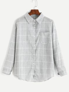 Grey Grid Print Pocket Curved Hem Shirt