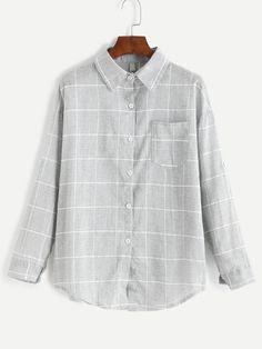 Grey Grid Print Pocket Curved Hem Shirt